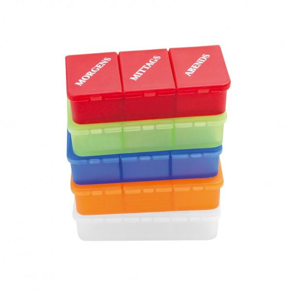 Tablettendose, farbig, 3 Fächer