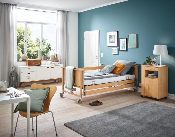 "Burmeier ""Dali-standard"" Pflegebett mit Holzseitengittern und Bettgalgen"