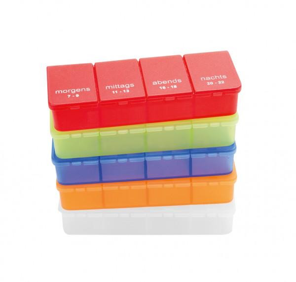 Tablettendose, farbig, 4 Fächer